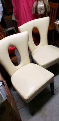 ( 2) Mid Century Modern Retro Faux Oval Hole In Back Leather Chairs  Shady Hills, 34610