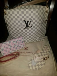white and gray Louis Vuitton leather backpack Midwest City, 73110