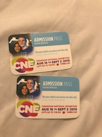 Canadian National Exhibition Admission Passes Toronto, M1H 3H9