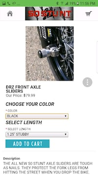 DRZ front and rear axle sliders 50stunt
