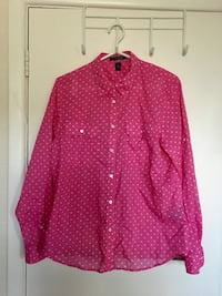 Women's Ralph Lauren pink polka dot blouse size XL