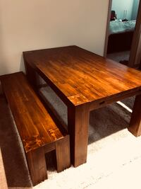 Solid Hardwood Dining Table & Benches