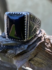 Vintage onyx sterling band mens or woman