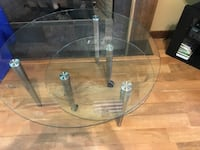 two round grey metal frame and glass top side tables Jonesborough, 37659