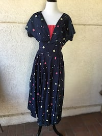 Pretty 1950s Navy Blue Silk Taffeta w/colorful print Castaic, 91384