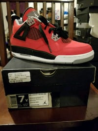unpaired red and black Air Jordan 4 shoe with box Yonkers