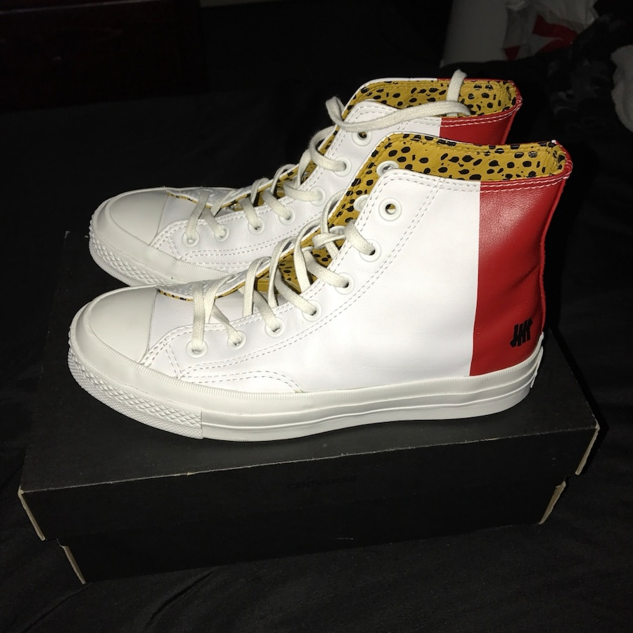 Letgo pair or red and white high top sn in palmdale ca for T shirt printing in palmdale ca