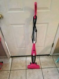 red and black steam mop