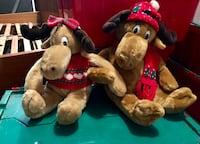Set of Two brown reindeer (boy & girl) adorable, soft  stuffed animals.  Elmhurst, 60126