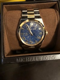 Michael Kors round gold analog watch with link bracelet
