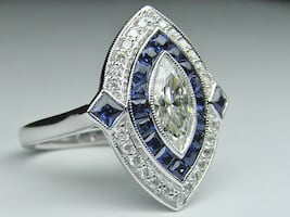 Women's Silver Ring with Blue Sapphire