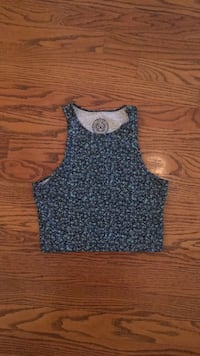 Women's blue and white floral tank top Crystal Lake, 60014