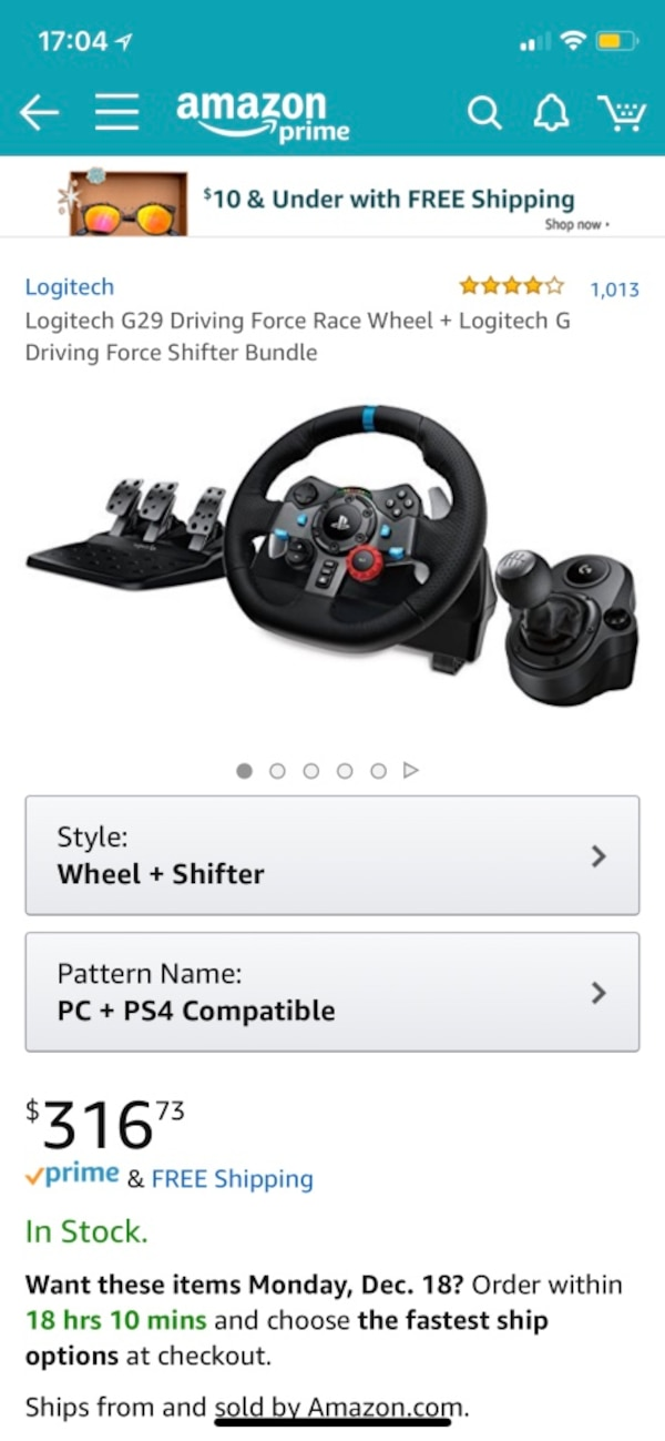 e8209290969 black Logitech G29 Driving Force Race Wheel + Logitech G Driving Force  Shifter Bundle screenshot