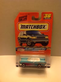 blue and white matchbox '57 chevy convertible diecast