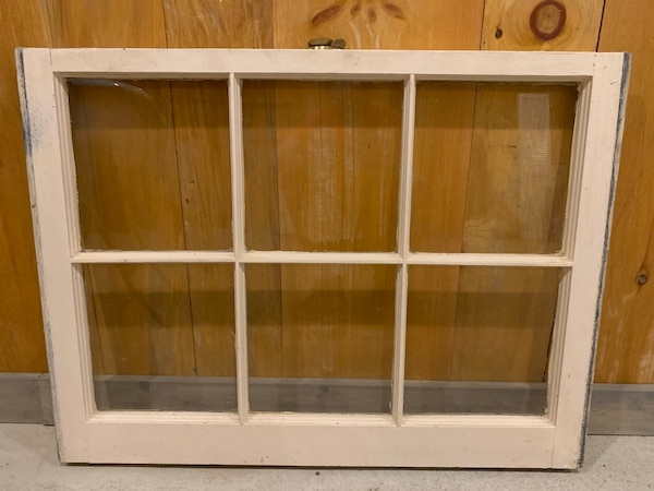 "Vintage windows. Measure 32"" wide x 23"" tall. Original vintage brass hardware. Great for hanging on wall with photos behind glass. Choose one with top or bottom sash hardware. I have several of each 0d4b69c5-c526-48a6-ba44-c101514040a1"