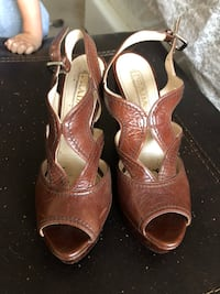 pair of brown leather open toe ankle strap heels Las Vegas, 89117
