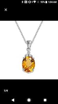 silver chain link necklace with yellow gemstone pendant Falls Church, 22041