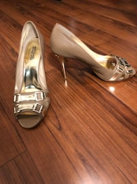 New Brown and Gold Michael Kors Peep Toe Heels - Size 10 - as is  Toronto