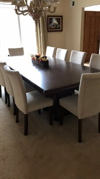 Villa couture real walnut formal dining table with ten chairs 10 km