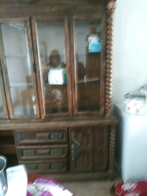 Used Brown Wooden Framed Glass Display Cabinet For Sale In