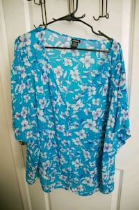 Bright aqua white pink floral sheer top Dover, 19901