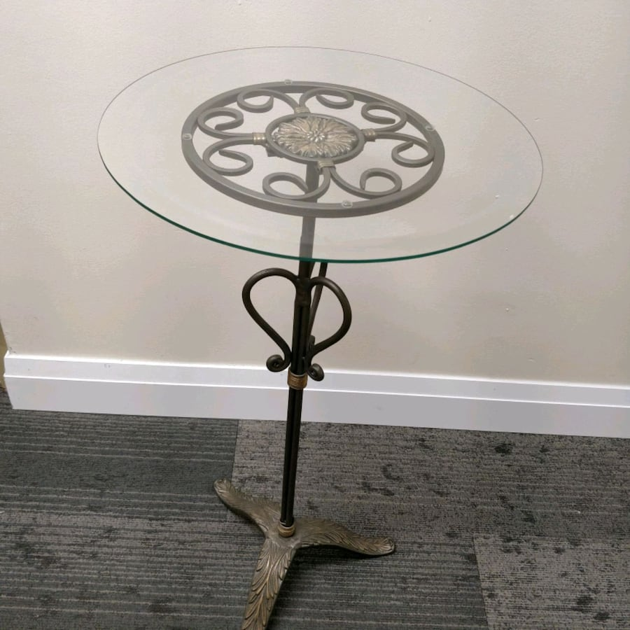 Heavy Cast Iron side table with glass top