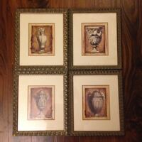 "4 Framed Prints 12""x13"" - $29.99"
