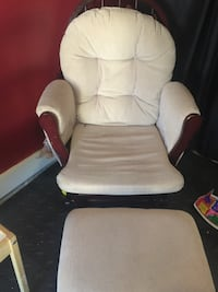white and brown glider chair