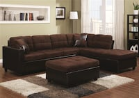 brown leather sectional sofa with ottoman Lodi, 95242