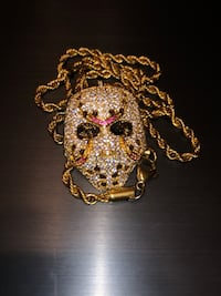 Iced out Jason mason pendant stainless steel gold plated $100 firm no trades brand new Virginia Beach, 23464