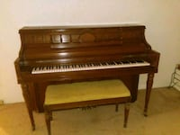 brown wooden upright piano with chair Capitol Heights, 20743