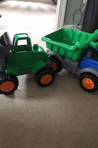 Pair of XL toy trucks