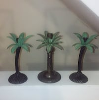 Antique metal 3 palm trees candle stick holders Chicago, 60647