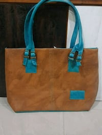 brown and blue leather tote bag 12862 km