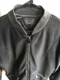 Zara Men's black faux leather bomber jacket - small