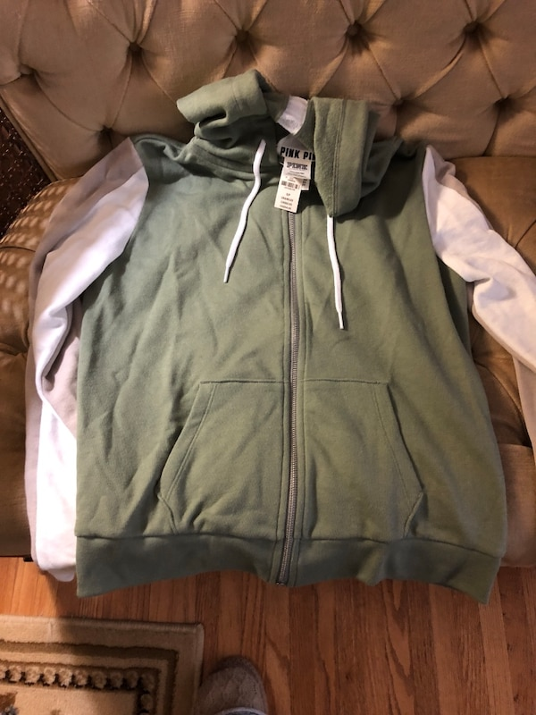 96a34db8e9bc4 Victoria secret pink zip up hoodie green new with tags