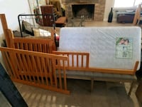 wooden toddler bed frame and white mattress 2226 mi