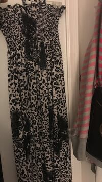 White and black leopard print tube maxi dress Bowie, 20721