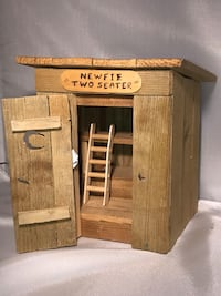 Vintage Newfie Two Seater Out house Gag gift