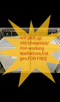 Will pick up old/unwanted washers & dryers for free