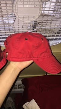 red fitted cap
