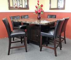 Solid 7 Pc. Solid Wood Pub Dining Set With Storage