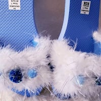 White and Blue Fur Textile Slide Sandals  Winchester, 22601