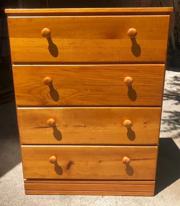 Sold Solid Pine Wood Dresser 4 Drawers