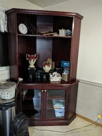 brown wooden framed glass display cabinet CALGARY