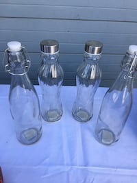 Glass bottles with lids-clear glass Madera, 93638