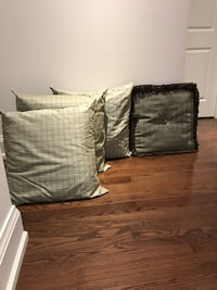 Throw pillows (sage and brown)