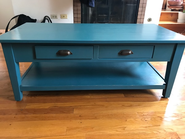 Used Blue Wood Coffee Table From Wrightwood Furniture Co For Sale