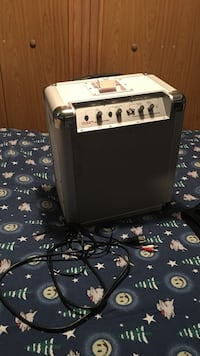 gray and white Ion guitar amplifier