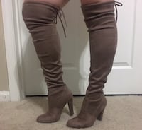 women's brown suede thigh-high chunky-heeled boots